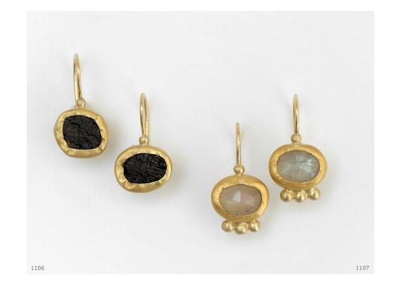 22k Gold Moonstone Earrings