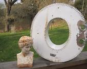 "Vintage Metal Letter, Industrial Large Letter ""O"" Salvaged, Reclaimed"