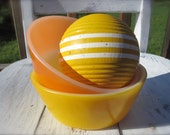 Fire King, Bowls, Citrus Yellow and Orange, Set of 2