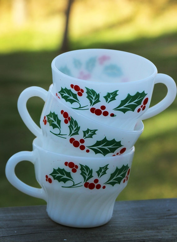 Vintage Milk Glass Christmas Cups, Holly and Berries