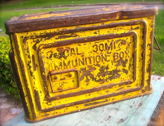 Vintage WWII Ammunition Box, Amo Box, Yellow