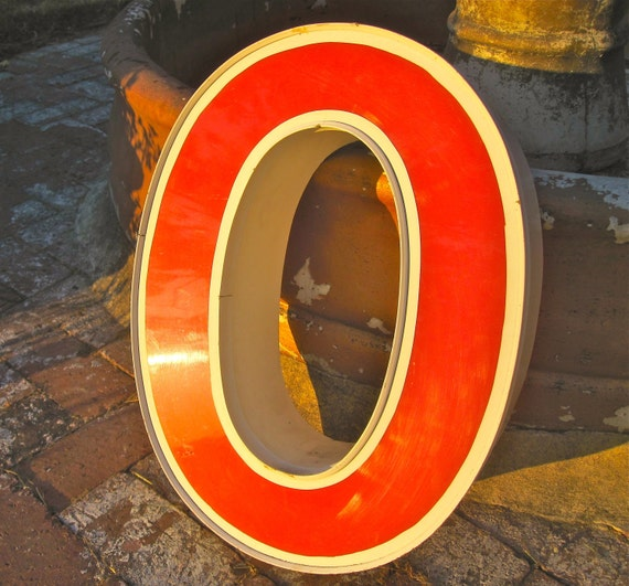 Vintage Marquis Letters, Industrial Salvage Letter O