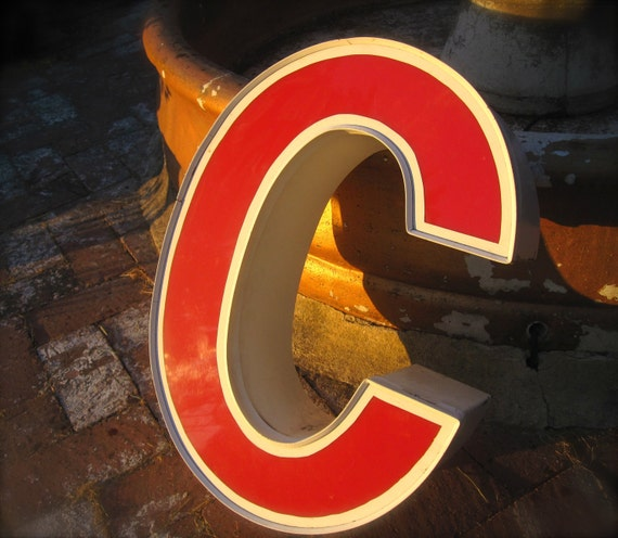 Vintage Marquis Letters, Industrial Salvage Letter C