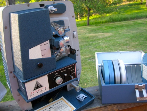 Vintage Movie Projector 8mm Plus 6 Films and Reel Carrying Case, Working