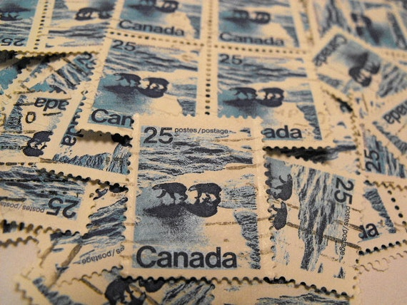 Lot of 50 Vintage Used Canadian Stamps 25 cent Polar Bears