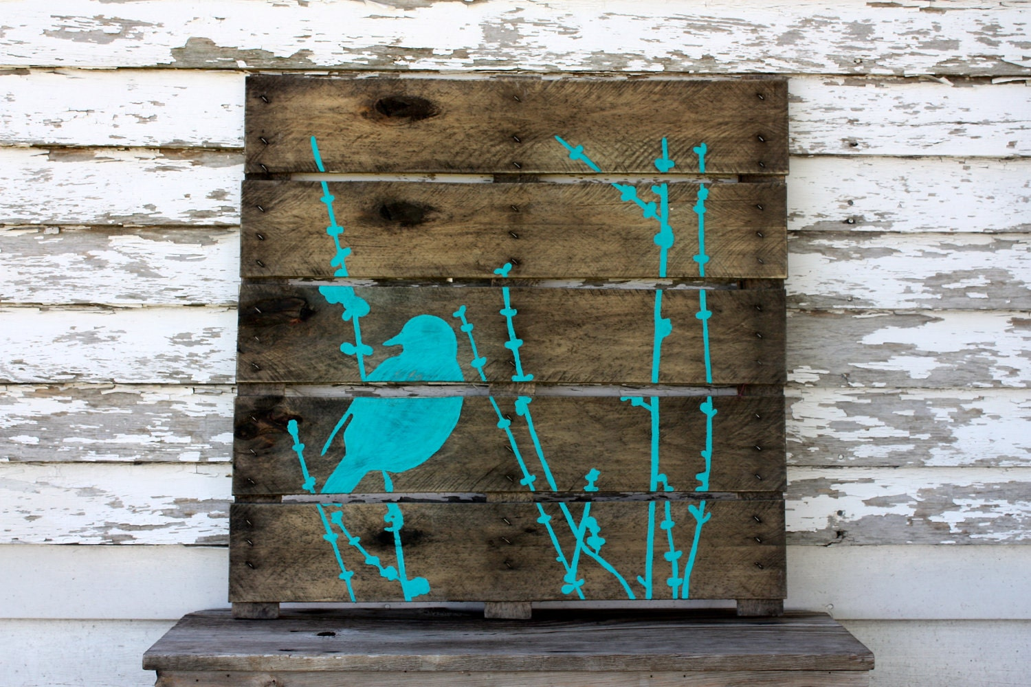 Hand painted repurposed pallet - Panneau decoration murale ...