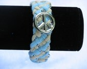 Recycled Blue/Yellow Tshirt Bracelet with Silver Peace Sign Charm