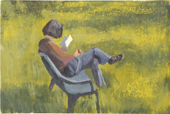 Reading. Original Painting on Paper