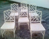 Set of six Chinese Chippendale Faux Bamboo Chairs