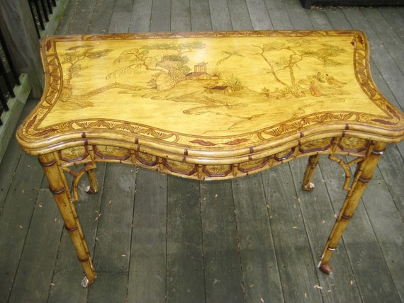 Chinoiserie Faux Bamboo Flip Top Game Table