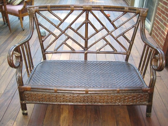 Chinese Chippendale Faux Bamboo Rattan Settee