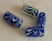 Destash - Blue and White Glass Lampwork Beads (4)