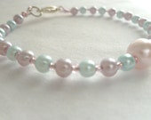 Light Blue, Pink, and Purple Beaded Bracelet