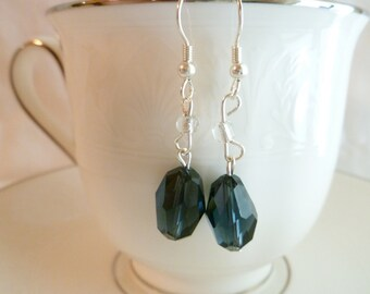 CLEARANCE - Smoke Sapphire Faceted Glass Bead Dangle Earrings