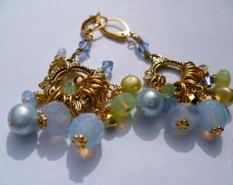 Light Blue and Green Beaded Dangle Earrings