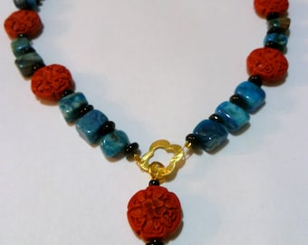 SALE - Blue Crazy Lace Agate Necklace with Cinnabar and Gold Vermeil Accents