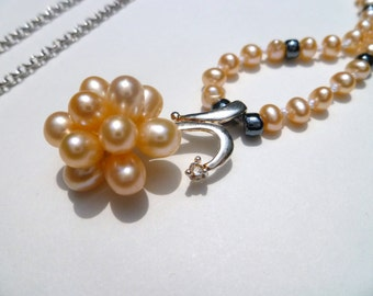 Peach Pearl Necklace with Cubic Zirconia Accent and Platinum Plated Chain
