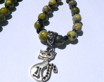 SALE - Yellow Turquoise Stone Necklace with Cat Pendant