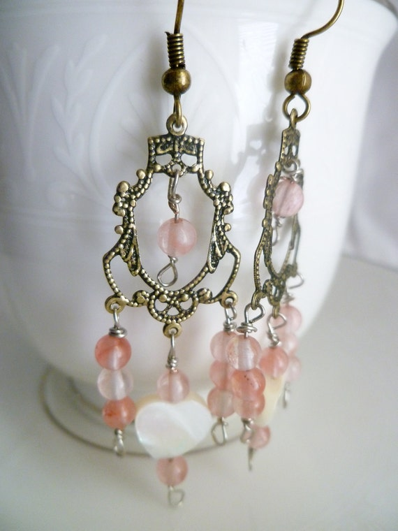 Vintage Inspired Antiqued Brass Filigree Chandalier Dangle Earrings with Pink Glass Beads and White Hearts