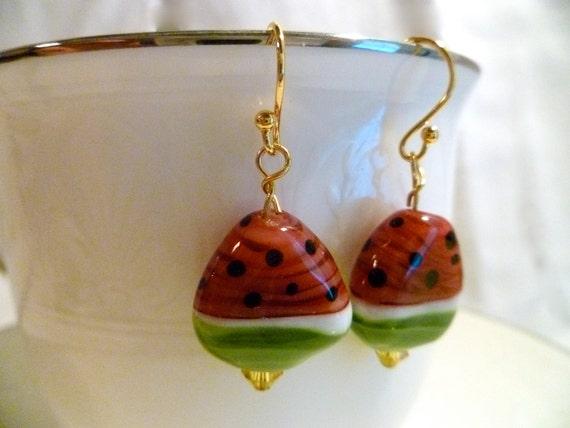 Watermelon Slices Glass Lampwork Earrings - 14 k gold plated ear wire