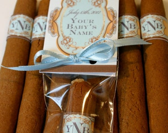Proud Papa's Stogies - Our sweet take on Dad's Birth Announcement Cigars, 6 Individually Wrapped COOKIES with Baby's Stats