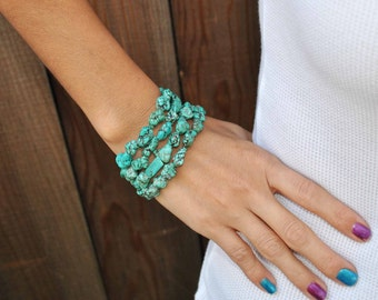 BEADED TURQUOISE  wrap around bracelet...........Great  gift if you don t know size of her wrist.