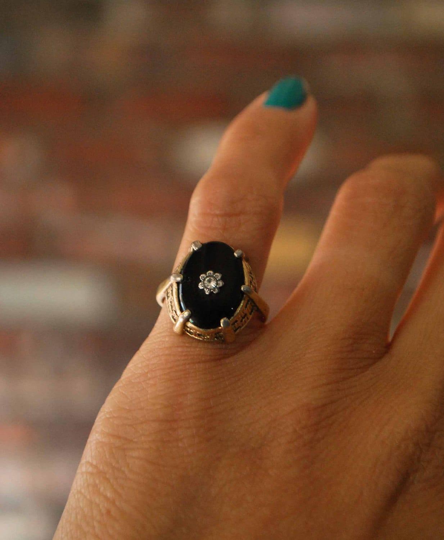 Antique Vintage Black Onyx And Diamonds Ring