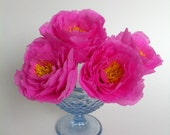 3 delicate pink paper peony