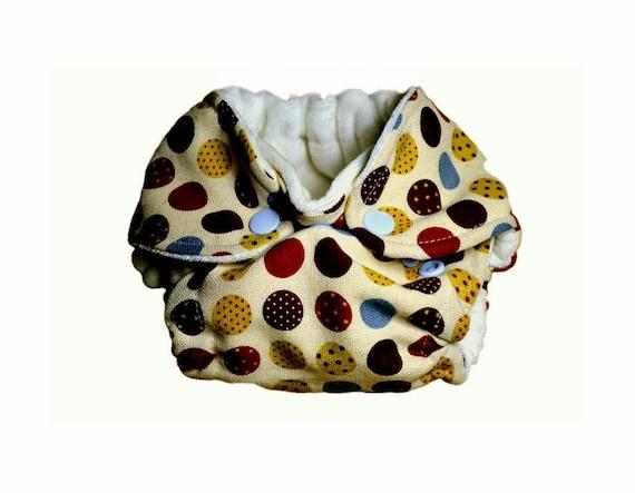 Multi-coloured polkadots NEWBORN fitted cloth diaper