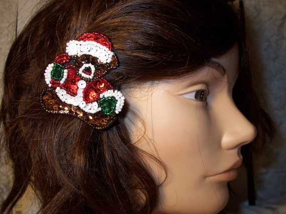 SALE-Christmas teddy bear hairclip