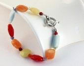 Bracelet, Semiprecious, Sterling Silver, Colorful, Geometric Jewelry, Resort wear