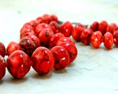 Coral Necklace, Reddish Orange Magnesite, Resort Jewelry, Graduated stones, Natural Brass Jewelry