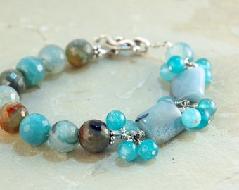 Blue gemstone Bracelet, Semiprecious bracelet, Blue bracelet,  Mixed gemstone jewelry, Gift for her, Sterling Silver, Statement Jewelry