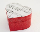 Hearts and Music  Decoupaged Wooden Box - Red wooden heart shaped box