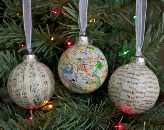 Decoupage Music Sheet Ornaments with Glitter, set of 3