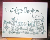 Letterpress Christmas  Train Cards