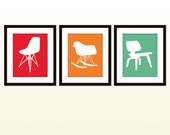 Mid century modern print-Eames chair collection-a series of 3 - 8x10 posters