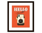 Retro art-vintage camera print-typographic art poster - funny quote art - Hello beautiful