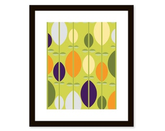 Mid century modern print-abstract leaves-8x10 poster