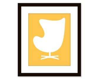 Mid century modern art print-Egg chair-8x10 poster