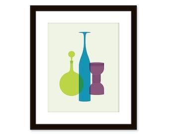 Mid century modern print-Blenko glass vases-8x10 poster