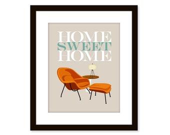 Home sweet home - Mid Century Modern art poster-- chair print