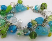 Helena: Unique One-Off Handmade Kitsch Fish, Frog and Silver Chain Charm Bracelet