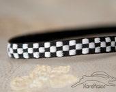 "Clearance Sale** No-Slip Running Headband Race Day Checkered Flag Woven Skinny 3/8"""
