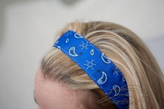 "No Slip Headband Blue Bandana Printed Grosgrain Wide 7/8"" or 1.5"""