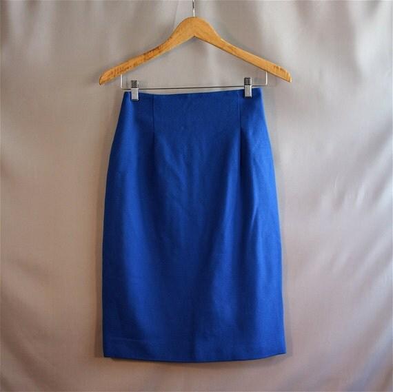 Bright Blue Pencil Skirt // Linda Allard for Ellen Tracy // Wool