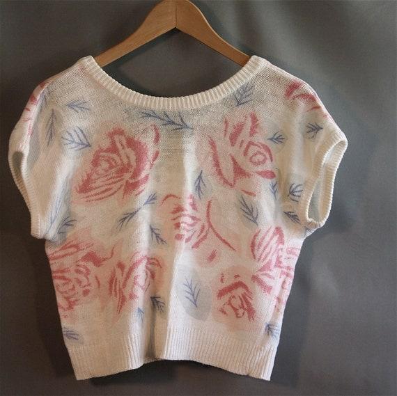 Vintage 80s Rose Crop Top Sweater // Midnight Blues // V-back