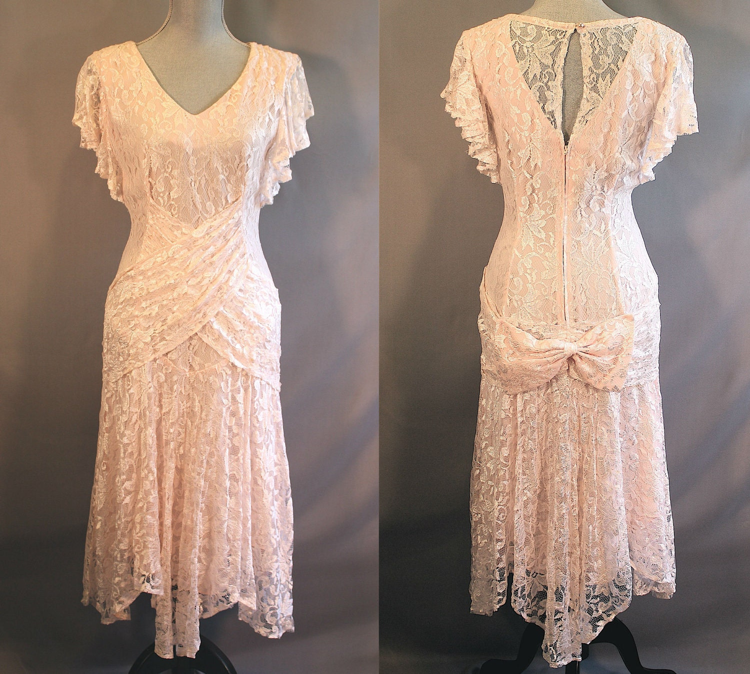 Vintage 1920 S Style Pale Pink Lace Dress Prom Wedding