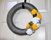 Handmade Grey and Yellow Yarn Wreath