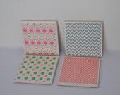 Pretty Teal & Pink Ceramic Coaster Set-READY TO SHIP